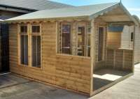 Timber Garden Roll Log Summerhouse / Chalet plus 4ft Verandah - Cornwall